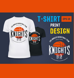 T-shirt with branding of basketball knight team vector
