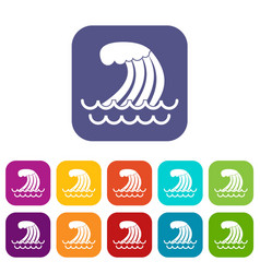 Tsunami wave icons set vector