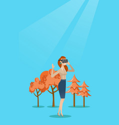Woman wearing virtual reality headset in the park vector
