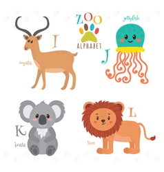 Zoo alphabet with funny cartoon animals i j k l vector