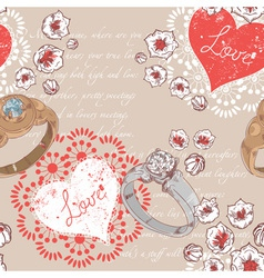 Valentine retro seamless pattern with wedding ring vector