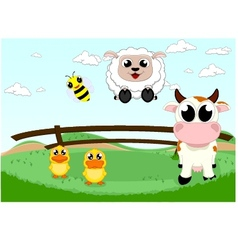 Cute farm animal vector