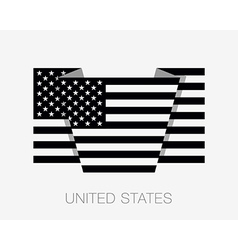 Black and white american flag flat icon vector