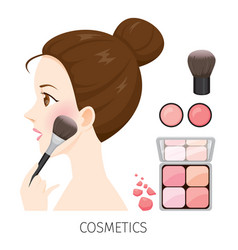 Woman with hair bun make-up rouge and brush vector