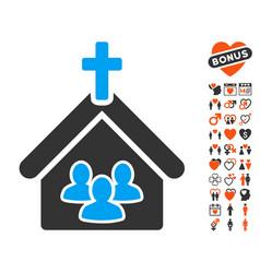 church icon with dating bonus vector image