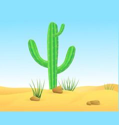 Light wild sand desert landscape template vector