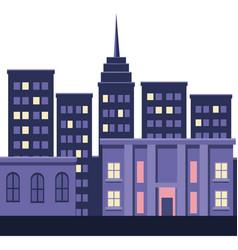 City skyline with skyscraper buildings night on vector