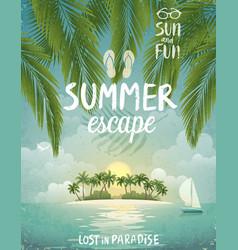 Tropical beach poster summer escape vector