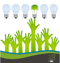 Hands and green ecology light bulb vector image