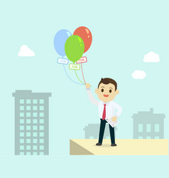 businessman holding colorful balloon with job vector image