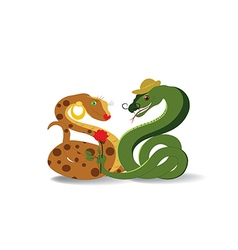 Snakes and flower vector