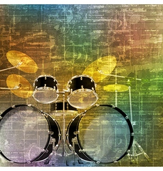 Abstract green music grunge background drum kit vector