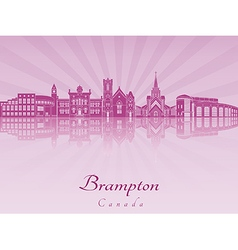 Brampton skyline in purple radiant orchid vector