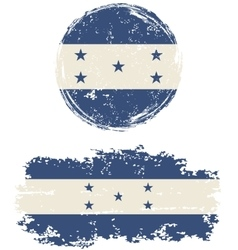 Honduras round and square grunge flags vector
