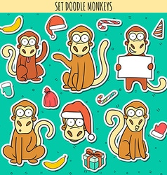 Year of red monkey doodle set monkeys sticker vector