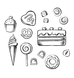Sweet delicious pastry bakery and dessert sketch vector