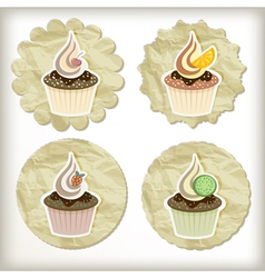 Set of cupcakes on golden napkins vector