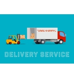 Delivery truck with forklift loading goods vector