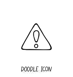 Doodle hazard warning sign with exclamation mark vector