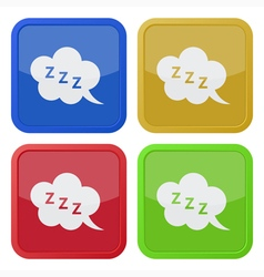 Set of four square icons with zzz speech bubble vector