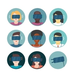 Virtual reality icons set with people vector