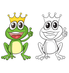 Animal outline for frog with crown vector