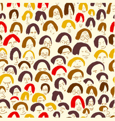 Artistic seamless pattern with crowd of people vector