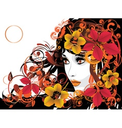 Autumn Girl with Floral8 vector image vector image
