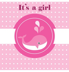 Baby whale pink vector