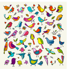 Birds collection sketch for your design vector