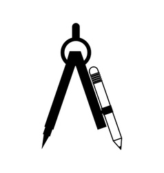 Black silhouette drawing compass with pencil set vector