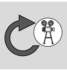 Camera film vintage with movie update icon vector