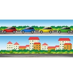 Cars on the road and many buildings vector image vector image