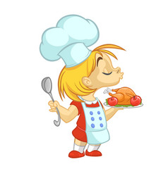 Cartoon girl preparing turkey vector