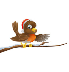 Christmas robin on snowy branch vector