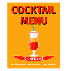 cocktail menu retro style design vector image vector image