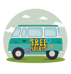 colorful hippie bus cartoon vector image