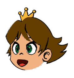 comic face princess with crown vector image vector image