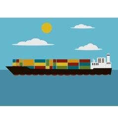 Containers cargo ship cartoon vector image