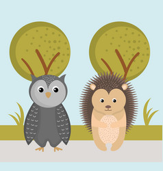 Cute owl and hedgehog wild animals forest vector