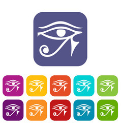 Eye of horus egypt deity icons set flat vector