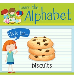 Flashcard alphabet B is for biscuits vector image