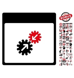 Gears Integration Calendar Page Flat Icon vector image