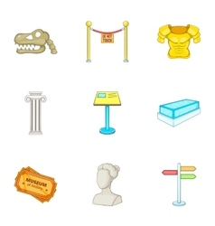 Going to museum icons set cartoon style vector