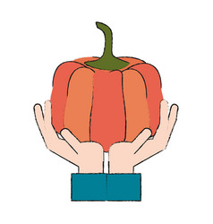 Hand holding pumpking vector