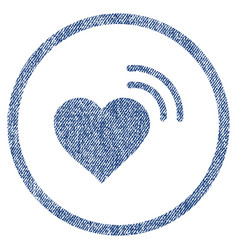 heart radio signal rounded fabric textured icon vector image