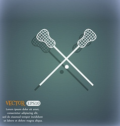 Lacrosse sticks crossed icon on the blue-green vector