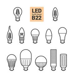 led light b22 bulbs outline icon set vector image