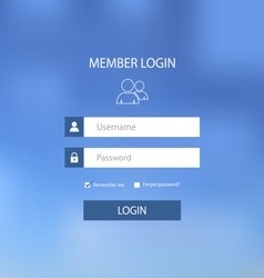 Login web screen with blue design template vector image vector image