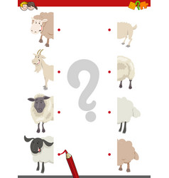 Match the halves of sheep vector